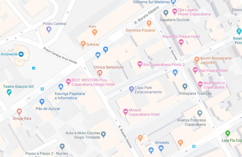Aqui está o mapa com algum hotel perto da Cardeal Arcoverde!
